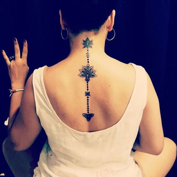 Three Small Flower Back Neck Tattoos Design And Ideas
