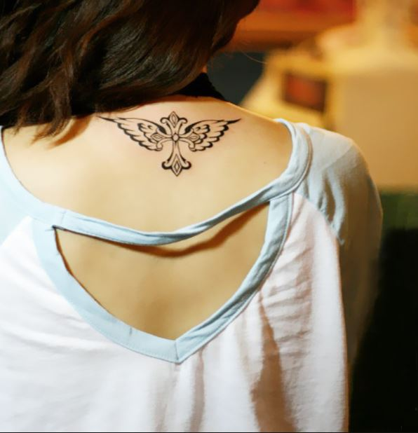Wing Back Neck Tattoos Design And Ideas