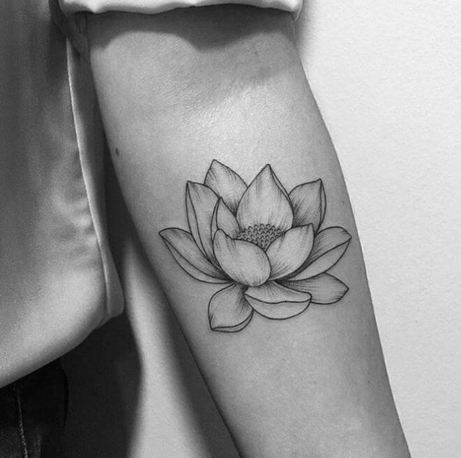 Black And White Lotus Flower Tattoo