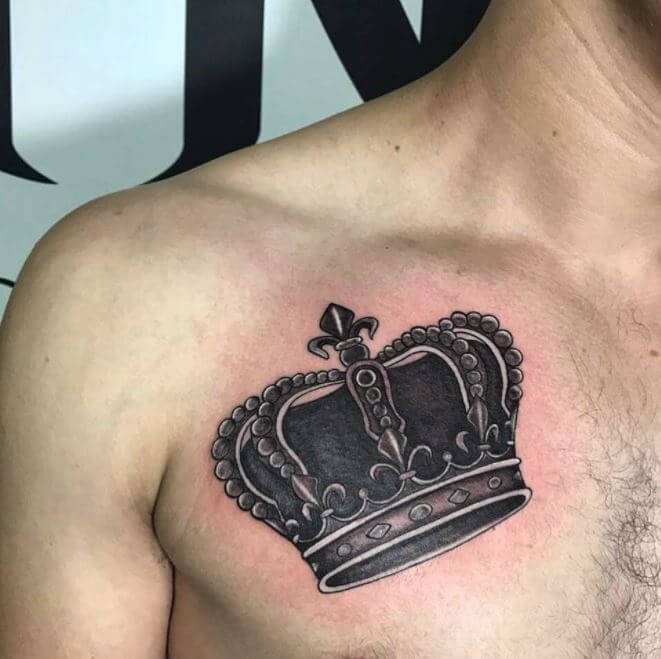 Crown Tattoo On Chest