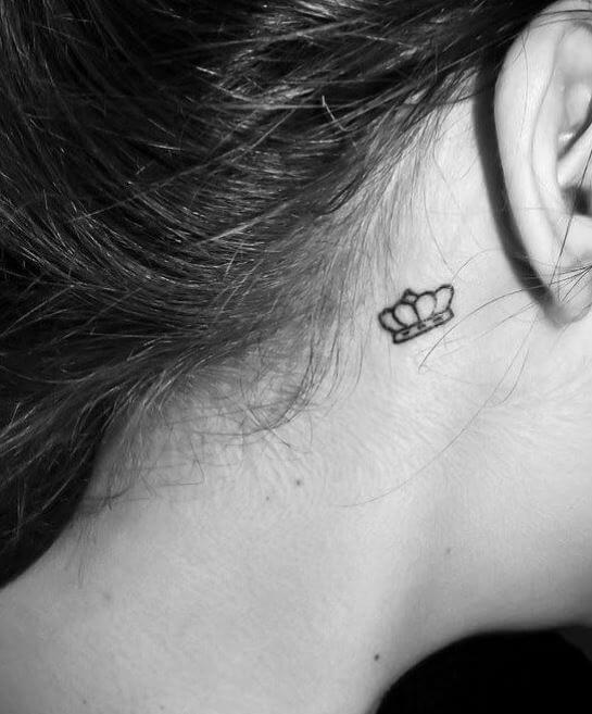 Crown Tattoos Behind Ear