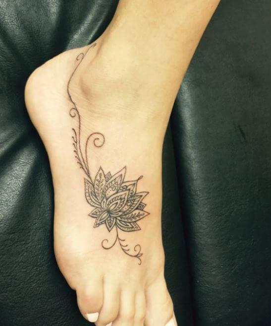 Lotus Flower Foot Tattoo