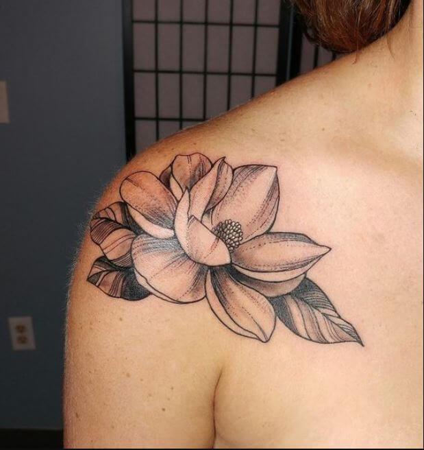 Lotus Flower Shoulder Tattoo