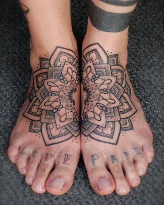 Lotus Flower Tattoos On Foot