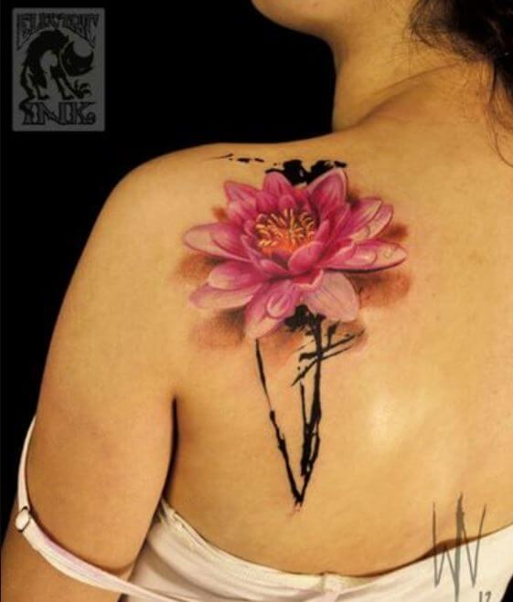 Realistic Lotus Flower Tattoo