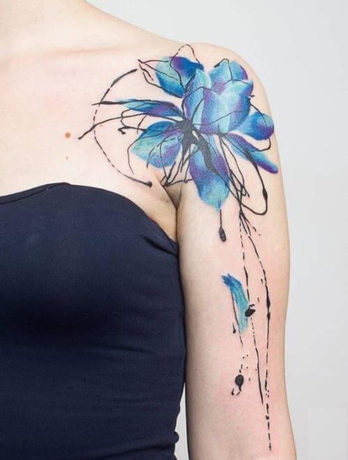 Watercolor Lotus Flower Tattoo