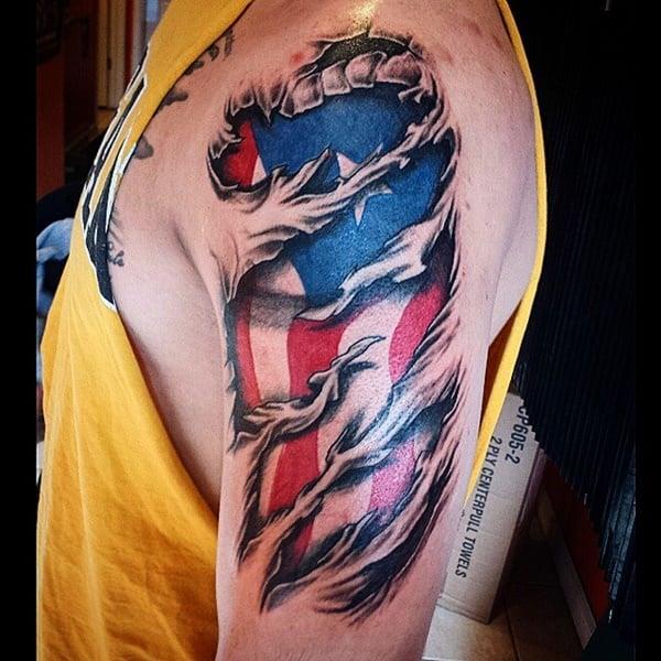 14160916 American Flag Tattoos