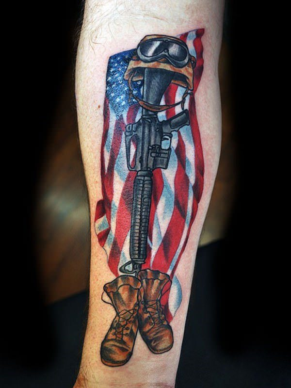24160916 American Flag Tattoos