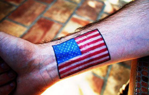 America Flag Tattoo On Wrist