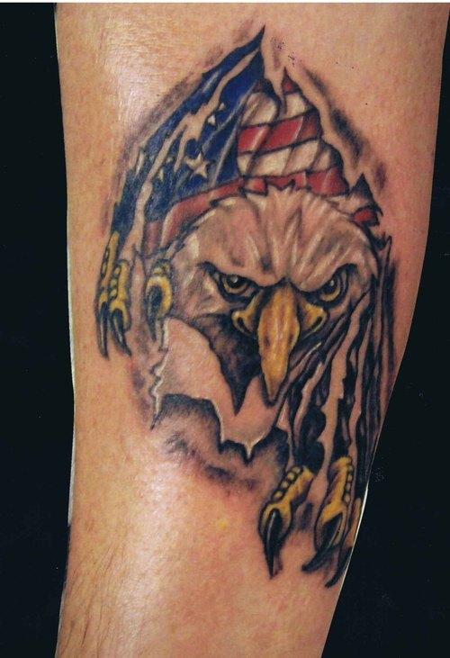 American Eagle Ripped Skin Tattoo On Arm