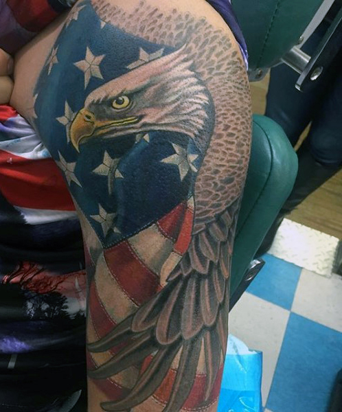 American Flag Eagle Tattoo On Sleeve For Men