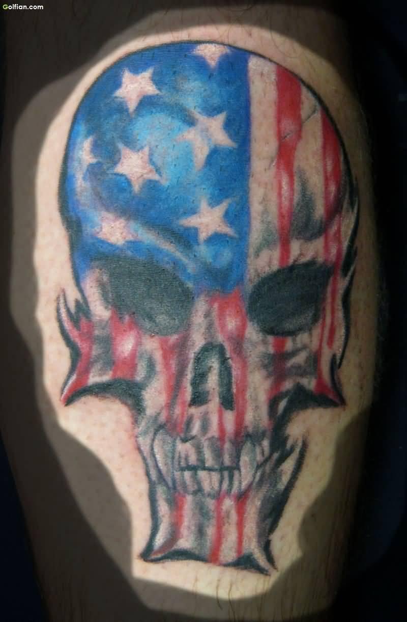 American Flag Skull Tattoo