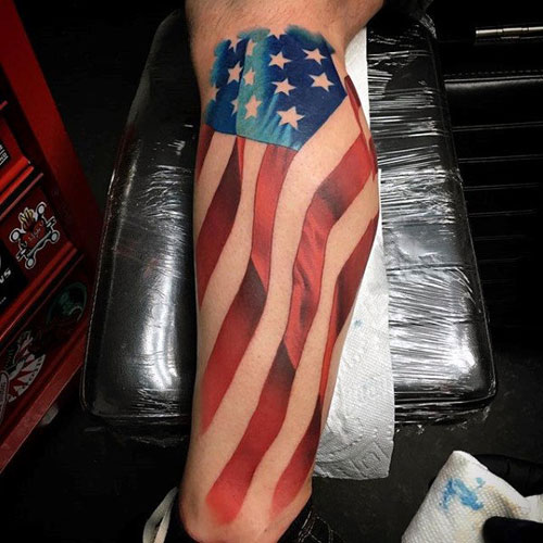Awesome Flag Leg Tattoo