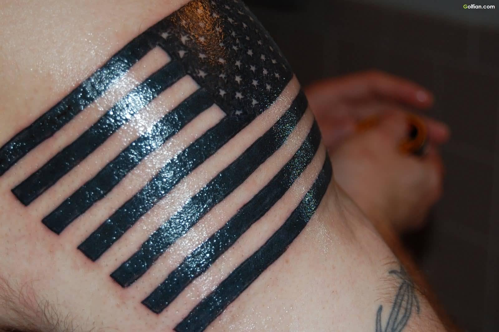 Black Ink USA Flag Tattoo