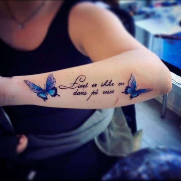 Butterfly With Quote Tattoos Design And Ideas