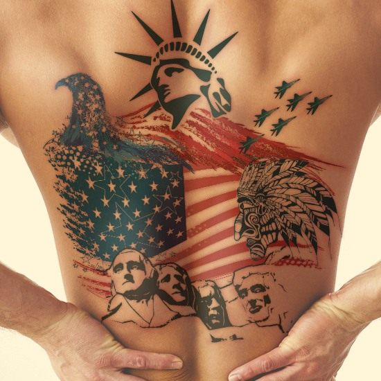 Cool America Theme Flag Tattoo On Back