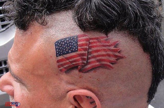 Cool American Flag On Side Head Tattoo