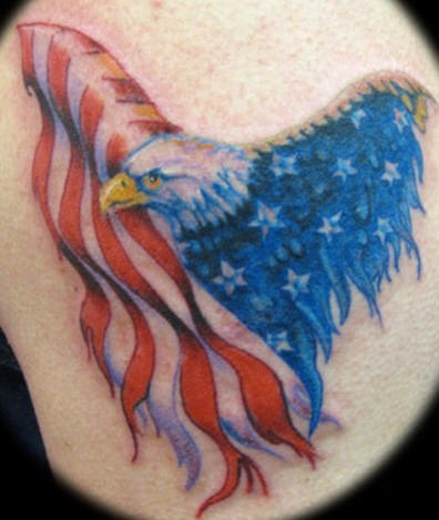 Creative America Flag Eagle Tattoo