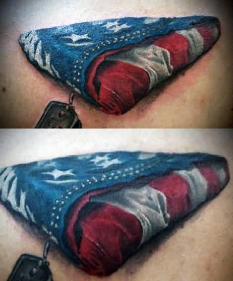 Folded American Flag Tattoo