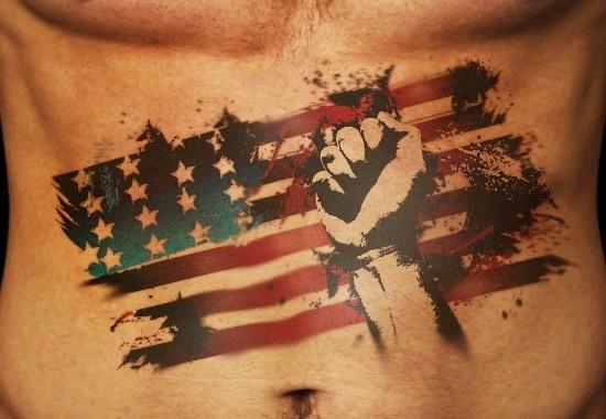 Impressive Patriotic American Flag Tattoo