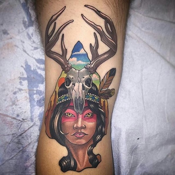 Native American Girl Tattoo Arrowhead