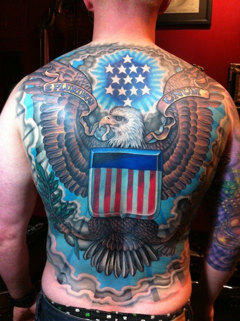 Outstanding Patriotic American Flag Tattoo On Full Back