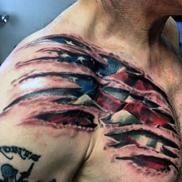 Patriotic 3D American Flag Tattoo On Chest
