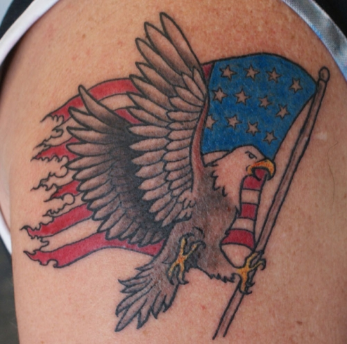 Patriotic America Flag Old School Tattoo On Shoulder