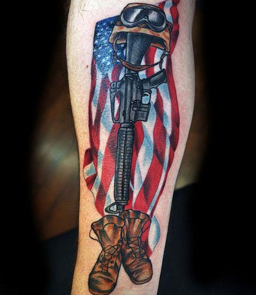 Patriotic American Flag Tattoo For Military Members