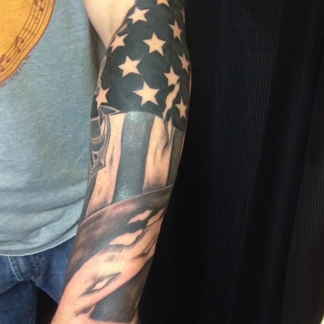 Patriotic American Flag Tattoo On Arm Sleeve