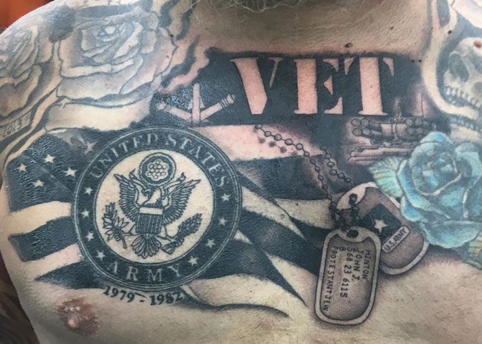 Patriotic American Flag Tattoos For Military
