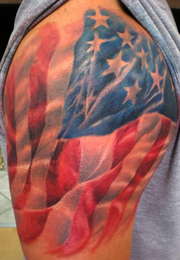 Realistic USA Flag Tattoo On Shoulder For Men