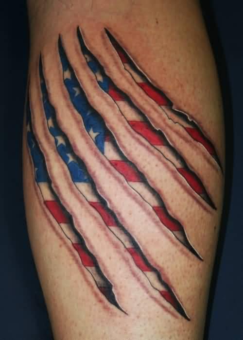 Ripped Skin Patriotic US Flag Tattoo