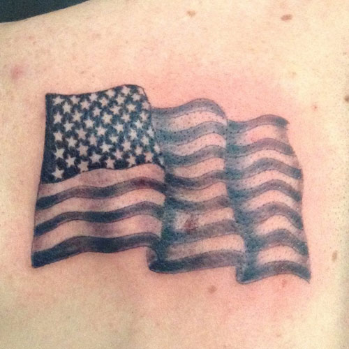 Small Waving American Flag Tattoo Designs