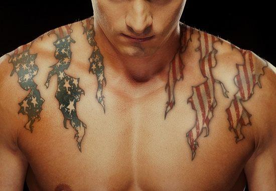 Tattered American Flag Tattoo For Men