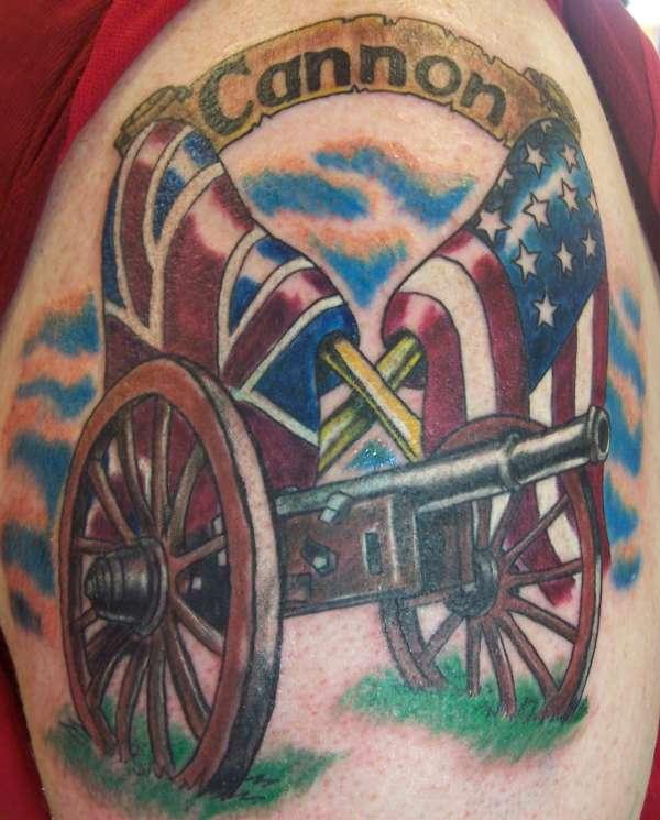 Terrific American Flag Cannon Tattoo