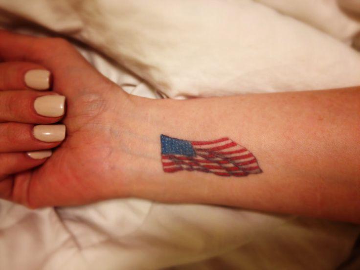 Tiny American Flag Tattoo On Wrist