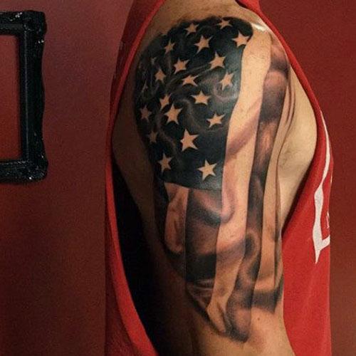 US Flag Sleeve Tattoo For Men