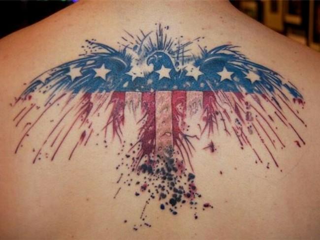 Wonderful Patriotic American Flag Tattoo On Upper Back