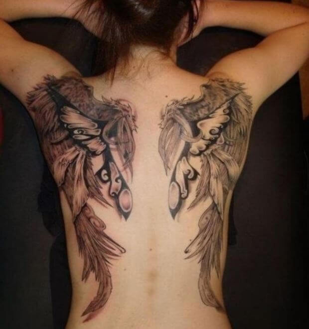 Angel Wings Tattoos On Back For Girls