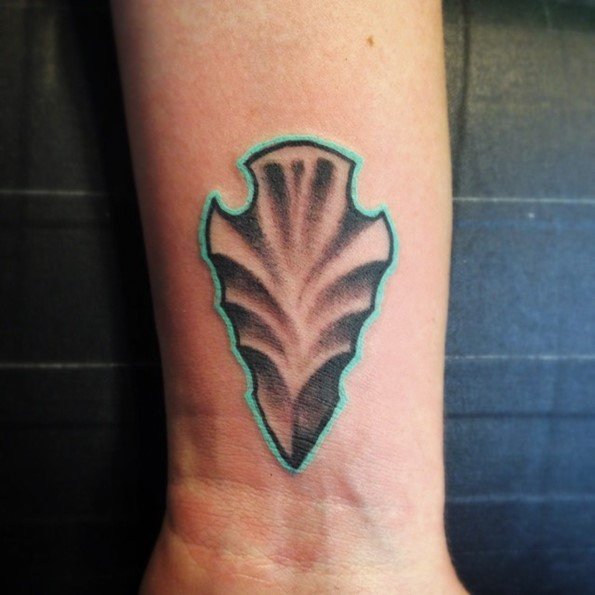 Arrowhead Tattoo With Blue Outline