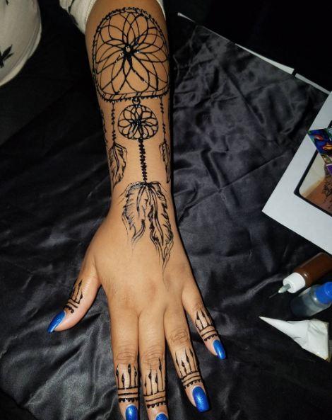 Black Henna Dreamcatcher Tattoos