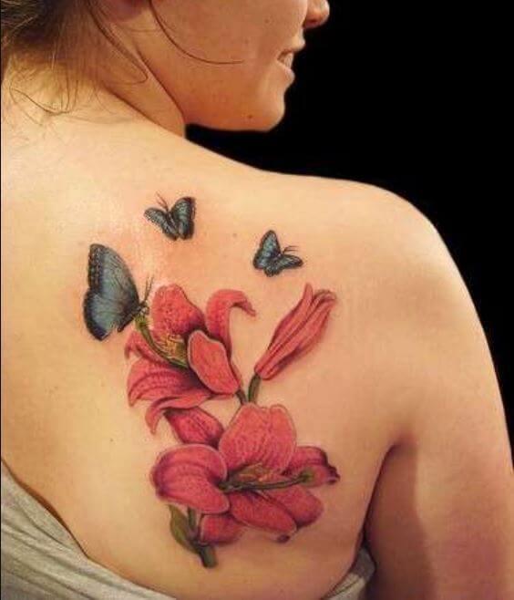 Butterfly And Flower Upper Back Shoulder