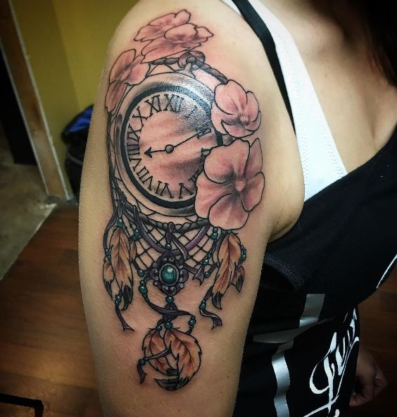 Clock With Dreamcatcher Tattoos