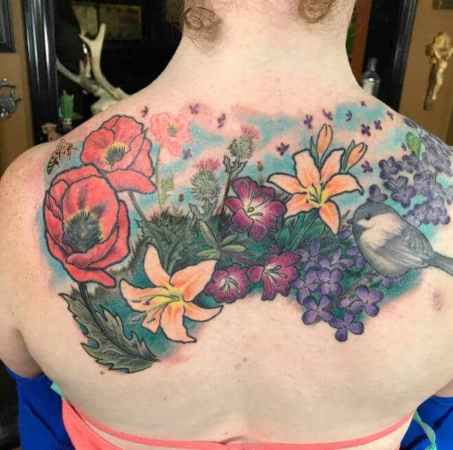 Colorful Back Tattoos For Girls