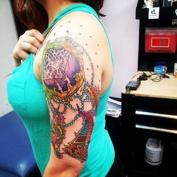 Compass Dreamcatcher Tattoo (10)