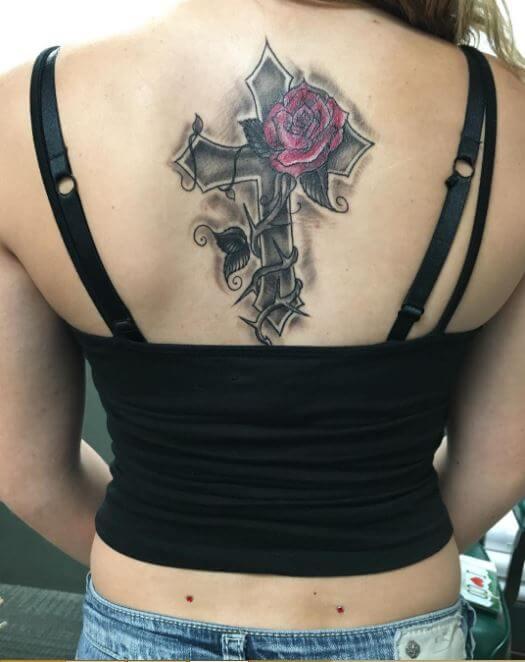 Cross Tattoos On Back For Girls