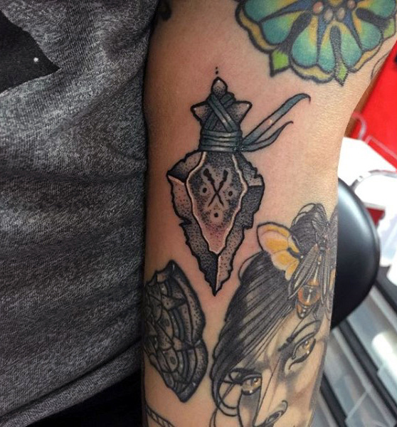 Dotted Design Grey Arrowhead Tattoos On Arms For Men