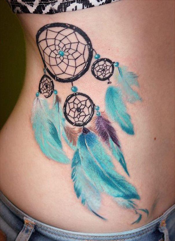 Dreamcatcher Tattoo On Ribs (2)