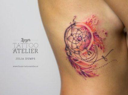 Dreamcatcher Tattoo On Ribs (7)